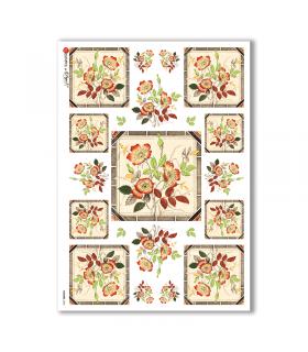 FLOWERS-0054. Carta di riso fiori per decoupage.