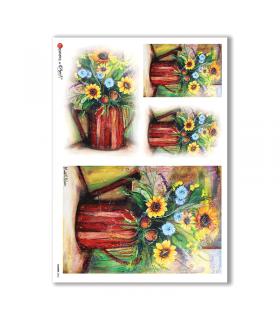 FLOWERS-0055. Papel de Arroz flores para decoupage.