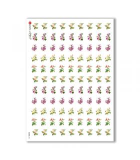 FLOWERS-0056. Carta di riso vittoriana fiori per decoupage.