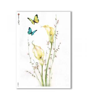 FLOWERS-0057. Carta di riso fiori per decoupage.