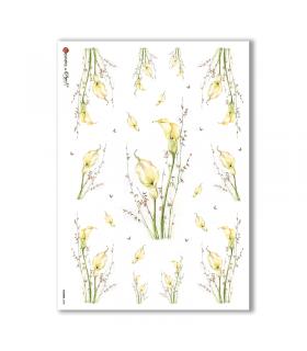 FLOWERS-0058. Papel de Arroz flores para decoupage.