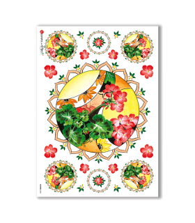 FLOWERS-0060. Carta di riso fiori per decoupage.