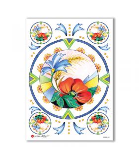 FLOWERS-0061. Papel de Arroz flores para decoupage.