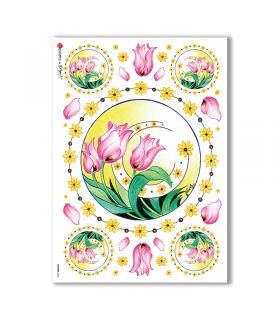 FLOWERS-0062. Carta di riso fiori per decoupage.