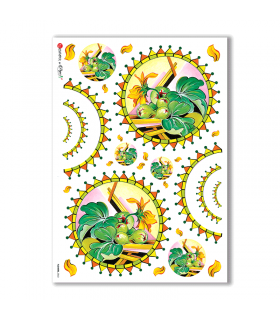 FLOWERS-0063. Carta di riso fiori per decoupage.