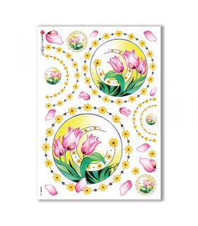 FLOWERS-0065. Papel de Arroz flores para decoupage.