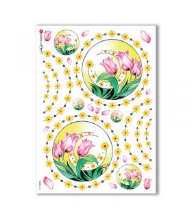 FLOWERS-0066. Papel de Arroz flores para decoupage.
