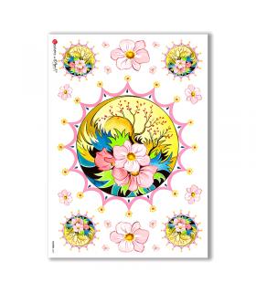 FLOWERS-0067. Papel de Arroz flores para decoupage.