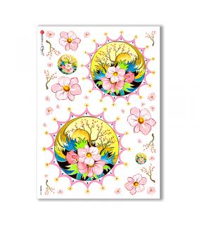 FLOWERS-0068. Carta di riso fiori per decoupage.