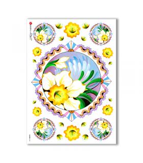 FLOWERS-0069. Papel de Arroz flores para decoupage.