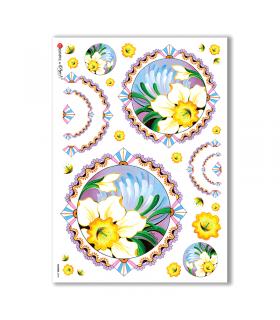 FLOWERS-0070. Papel de Arroz flores para decoupage.