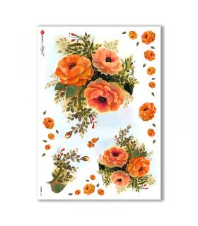 FLOWERS-0075. Papel de Arroz flores para decoupage.