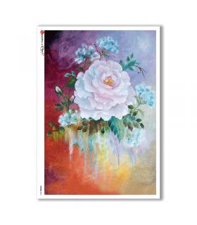 FLOWERS-0076. Carta di riso fiori per decoupage.