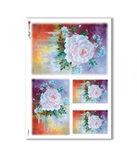 FLOWERS-0077. Papel de Arroz flores para decoupage.