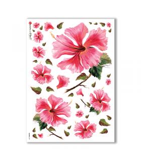 FLOWERS-0079. Papel de Arroz flores para decoupage.