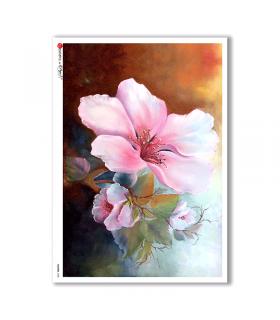 FLOWERS-0080. Papel de Arroz flores para decoupage.