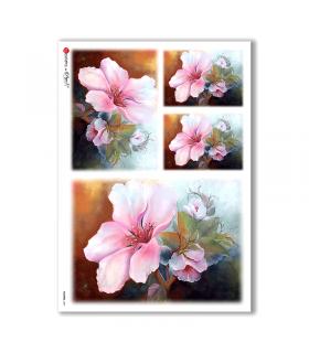 FLOWERS-0081. Papel de Arroz flores para decoupage.