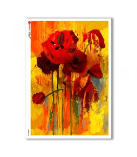 FLOWERS-0082. Carta di riso fiori per decoupage.