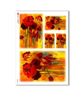 FLOWERS-0083. Carta di riso fiori per decoupage.