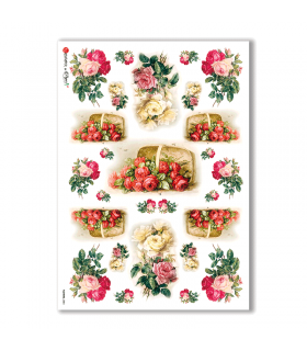 FLOWERS-0084. Carta di riso vittoriana fiori per decoupage.