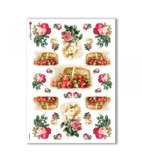 FLOWERS-0084. Papel de Arroz victoriano flores para decoupage.