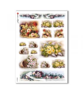 FLOWERS-0085. Carta di riso vittoriana fiori per decoupage.