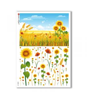FLOWERS-0088. Papel de Arroz flores para decoupage.