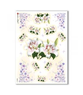 FLOWERS-0096. Papel de Arroz flores para decoupage.