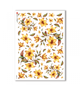 FLOWERS-0097. Papel de Arroz flores para decoupage.