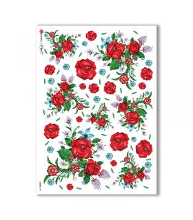 FLOWERS-0098. Papel de Arroz flores para decoupage.