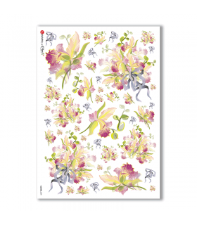 FLOWERS-0099. Papel de Arroz flores para decoupage.