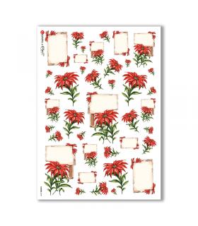 FLOWERS-0100. Carta di riso fiori per decoupage.