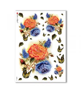 FLOWERS-0102. Papel de Arroz flores para decoupage.