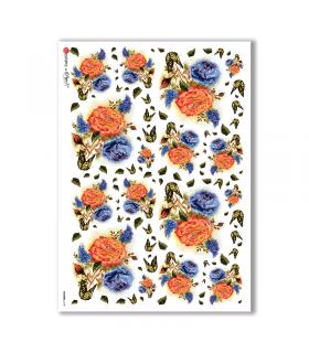FLOWERS-0103. Papel de Arroz flores para decoupage.