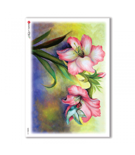 FLOWERS-0104. Papel de Arroz flores para decoupage.
