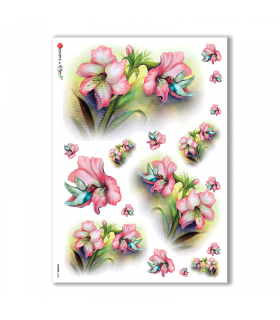 FLOWERS-0105. Carta di riso fiori per decoupage.