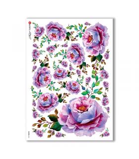 FLOWERS-0106. Carta di riso vittoriana fiori per decoupage.