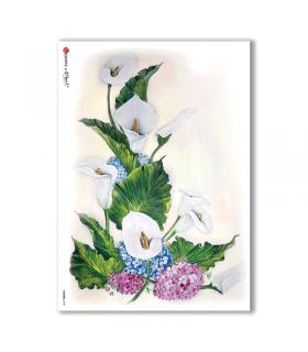 FLOWERS-0108. Carta di riso fiori per decoupage.
