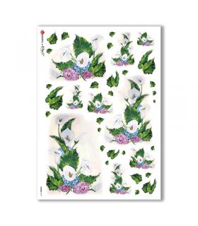 FLOWERS-0109. Carta di riso fiori per decoupage.