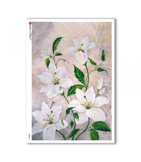 FLOWERS-0110. Papel de Arroz flores para decoupage.