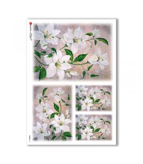 FLOWERS-0111. Papel de Arroz flores para decoupage.