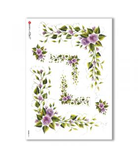 FLOWERS-0114. Papel de Arroz flores para decoupage.