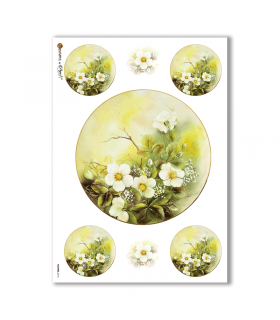 FLOWERS-0116. Papel de Arroz flores para decoupage.