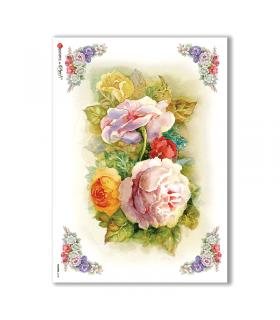 FLOWERS-0125. Papel de Arroz flores para decoupage.