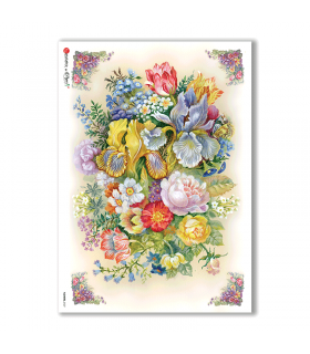 FLOWERS-0127. Carta di riso vittoriana fiori per decoupage.