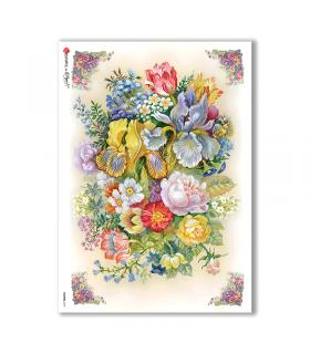 FLOWERS-0127. Papel de Arroz victoriano flores para decoupage.
