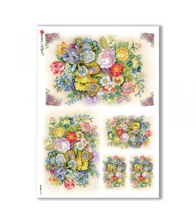 FLOWERS-0128. Carta di riso vittoriana fiori per decoupage.