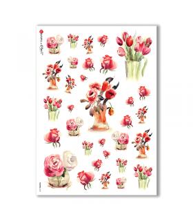 FLOWERS-0130. Papel de Arroz flores para decoupage.